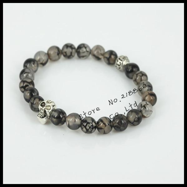 1pcs new Natural 8mm grey crack stone beads charm women bracelet fashion skull head mens bracelet