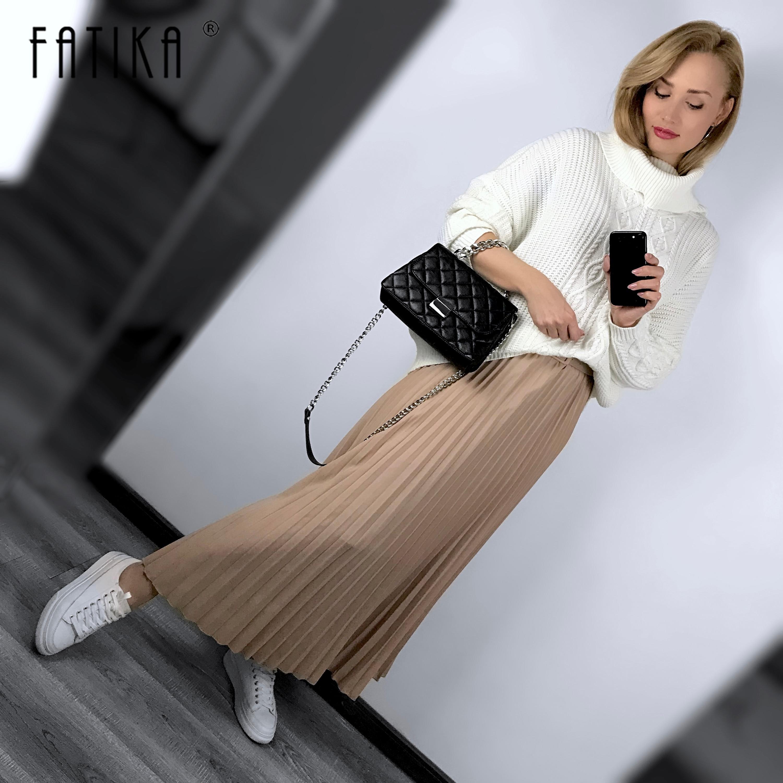 FATIKA Chiffon Pleated Skirt High Waist Gorgeous Skirts Autumn Winter Midi Skirts For Women 2019 Spring Summer