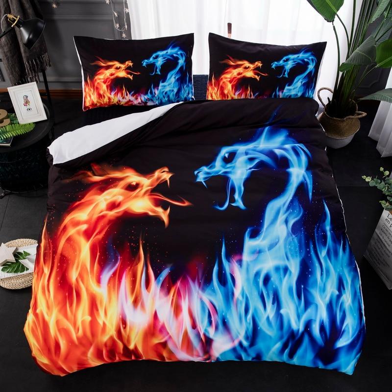 blue fire water dragon design twin king queen double full bedclothes bedspread pillowcase duvet cover bedding set