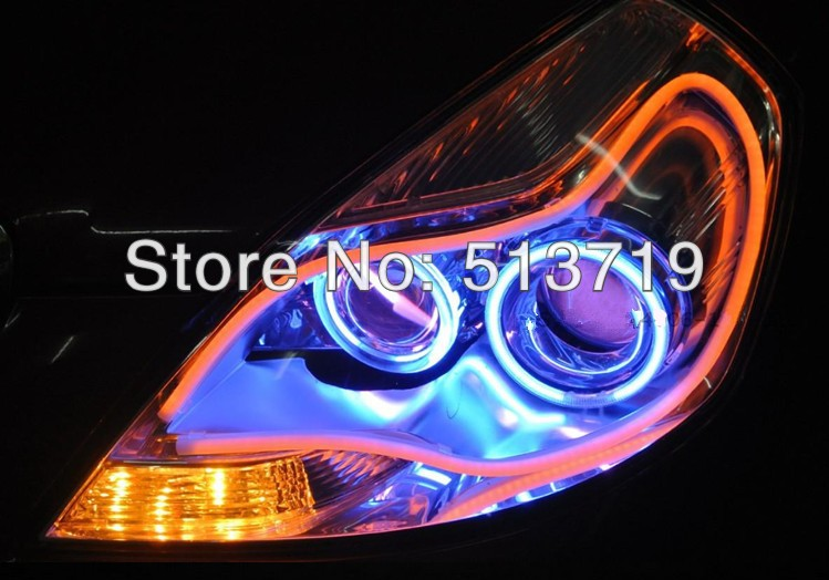 Car New cob led Angel Eyes Headlight Driving Flexible Daytime Running Lights Automobiles 60CM DRL light Auto 12v Xenon  White