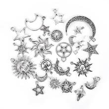 23pcs/Lot Mixed Alloy Silver Color Star Sun moon Charms Pendants for Bracelet Necklace DIY Jewelry Making Findings Accessories