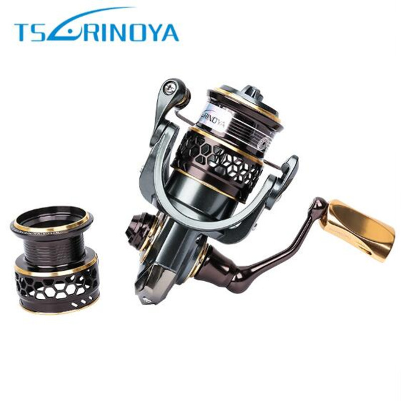 2017 TSURINOYA Jaguar 1000- 3000 Spinning Fishing Reel 9+1BB Gear Ratio 5.2:1 Double Metal Spool Lure Reel Steering Wheel Feeder coonor j12 9 1bb metal spool fishing reel 5 1 1 gear ratio spinning reel full metal spool with double t shape handles