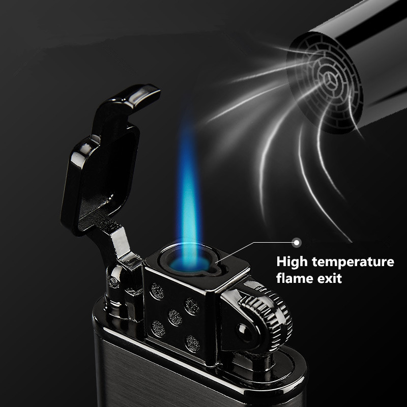 Image 3 - 2019 New Pipe Lighter Torch Turbo Lighter Jet Butane Metal Lighter Cigarette 1300 C Fire Windproof No Gas-in Matches from Home & Garden