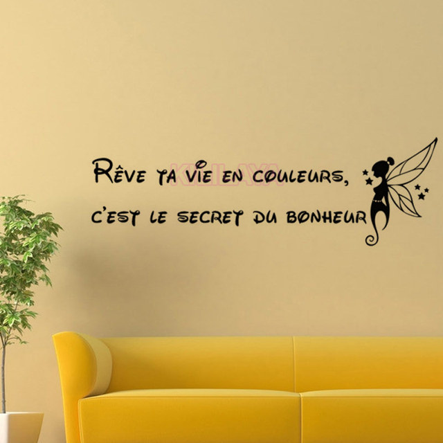 Stickers French Citation Bonheur Vinyl Wall Sticker Fairy Girl Wall ...