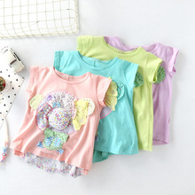 купить 2019 Summer Girl stickers short sleeve T-shirt round neck pure cotton sweet and cute . дешево