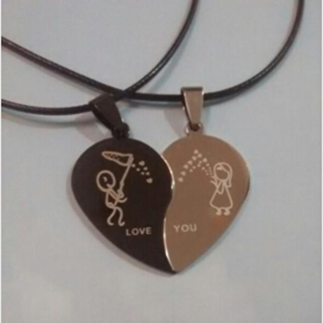 Couples Bijoux Coeur Brisé Colliers Noir Couple Collier En Acier Inoxydable Graver Amour Vous Pendentifs Collier 1