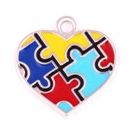 Осознание аутизма Цепочки и ожерелья подвески с отверстиями паззл головоломка надеемся шарма сердца
