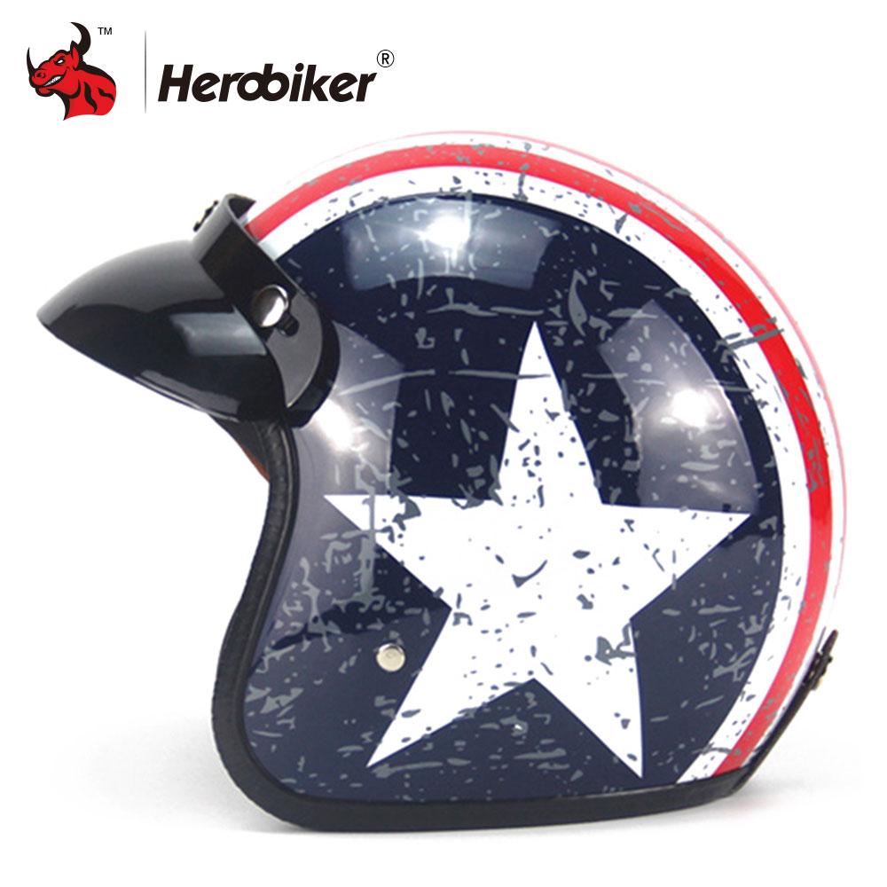 New Retro Vintage Motorcycle Helmet Moto Helmet Motorbike Bobber Cafe Racer Cruiser Touring Chopper 3/4 Open Face Helmet DOT