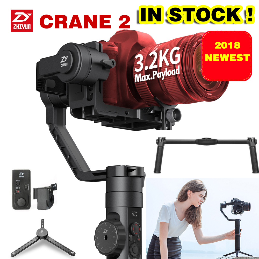 2018 Newest Zhiyun Crane 2 3-Axis Handheld Gimbal Video Camera Gyro Stablizer for DSLR Mirrorless Camera Canon 5D2/5D3/5D4 DHL цена