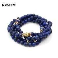 Newest Buddhist Buddha Meditation 8mm And 10mm 108 Prayer Lapis Bead Elastic Mala Bracelet Necklace Women