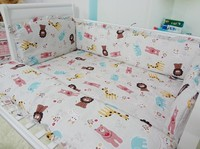 Promotion! 6PCS crib bedding set curtain berco cot bumpers baby bedding crib sets (bumpers+sheet+pillow cover)