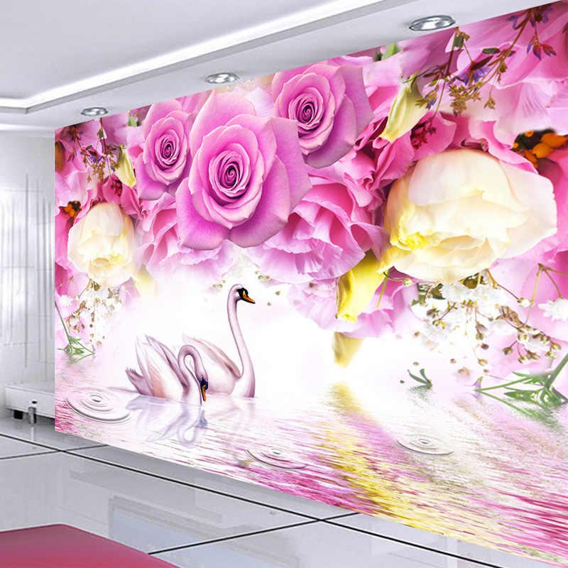 사진 벽지 현대 보라색 장미 백조 패션 3d 벽 벽화 거실 침실 홈 장식 벽 종이 papel de parede 3d sala