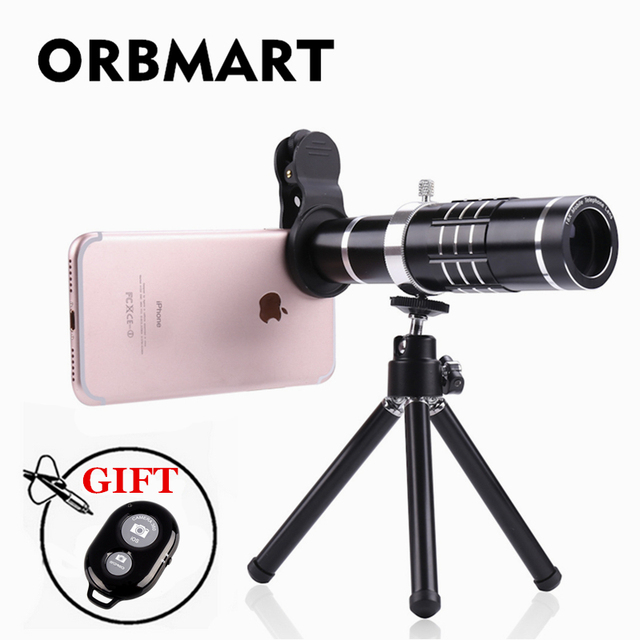 4fea1c553aa047 ORBMART Black 18X Zoom Optical Telescope Universal Clip Mobile Phone Lens  With Mini Tripod + Bluetooth Remote Control For Phone