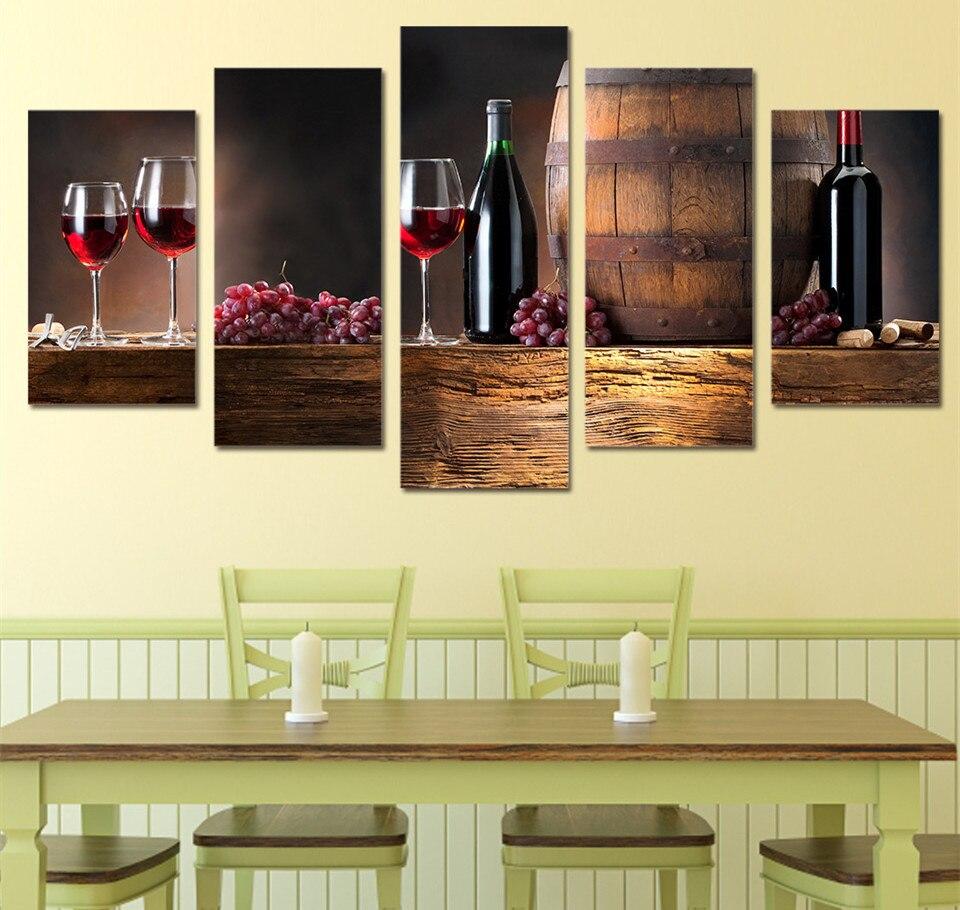 5 Piece Art Canvas HD Printed Drink Black Canvas Artwork Grape Wine ...