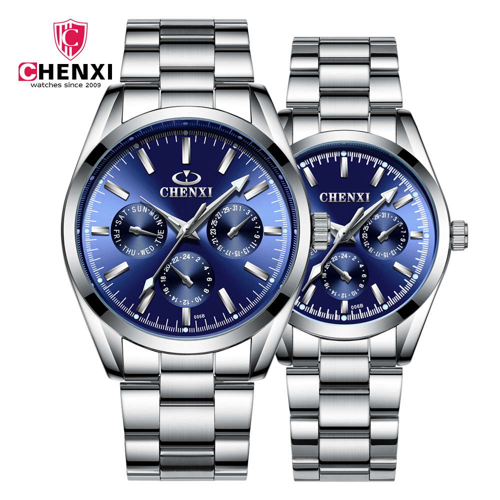 CHENXI luminous waterproof couple watch casual 6 color sports quartz watch high quality date unisex Lover's Watches 2019 new