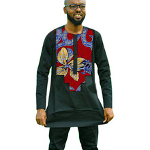 Ankara Wax/Cotton Patchwork Shirt For Men African Fashion Top Shirts Dashiki Patterns Long Sleeve TShirt