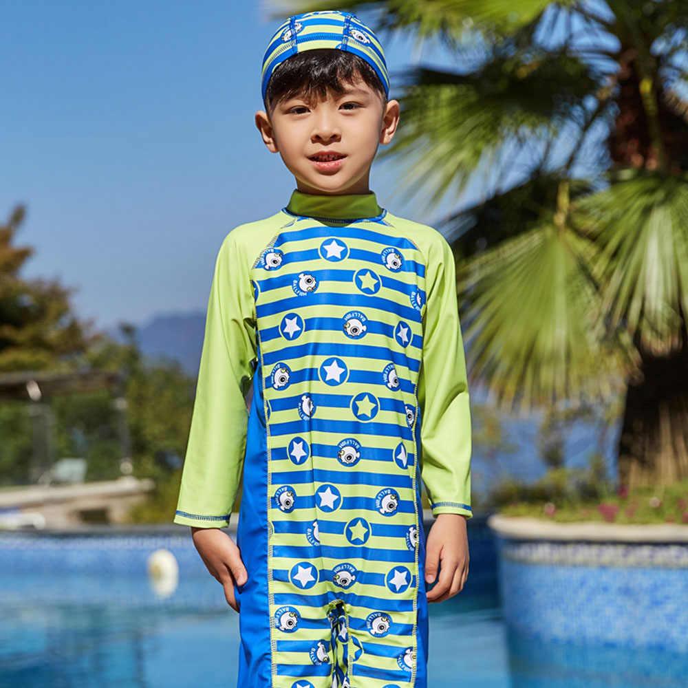 2019 купальный костюм для мальчиков, детский купальный костюм с рисунком и длинными рукавами, детский цельный купальный костюм для малышей, пляжный купальник