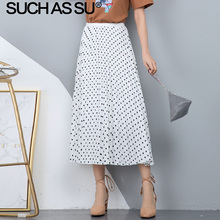 цена на New 2019 Summer Chiffon Polka Dot Skirts Women Black White Wave Point Print High Waist Midi Skirts Slim Pleated Skirt Female