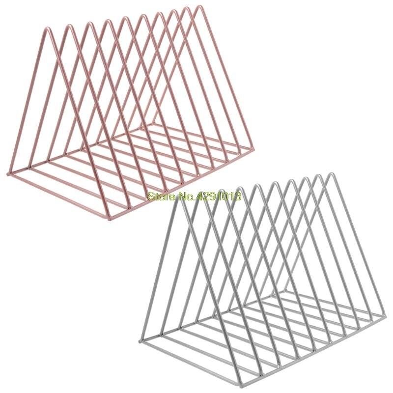 Home Office Metal Iron Storage Rack Desktop Book Magazine Organizer Bookshelf Holder Modern Artistic Geometric Decoration
