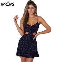 Aproms Dot Print V Neck Mini Dress Women Tie Up Chiffon Vestidos Female Casual Sleeveless Hollow