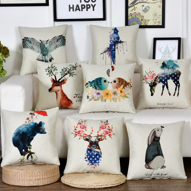 Cute Cushion Cover Animal Cushion Rabbit Bird Owl Deer Bear Sofa Car Throw Pillows Case Washable Waist Seat Pillow Cover Cojines