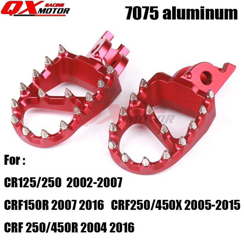 NEW 7075 Foot Peg Rest Pedal For HONDA CRF125/250 02 03 04 05 07 CRF150R 07 16 CRF250/450X 2005 2006 2015 CRF250/450R 2004 2016 for honda crf 250r 450r 2004 2006 crf 250x 450x 2004 2015 red motorcycle dirt bike off road cnc pivot brake clutch lever