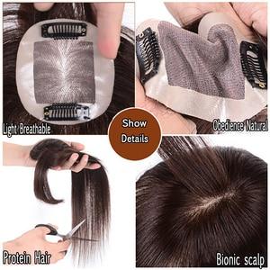Image 5 - Jinkaili preto marrom resistente ao calor sintético toupees hairpieces reta topo natural grampo de cabelo ins ar franja encerramento masculino