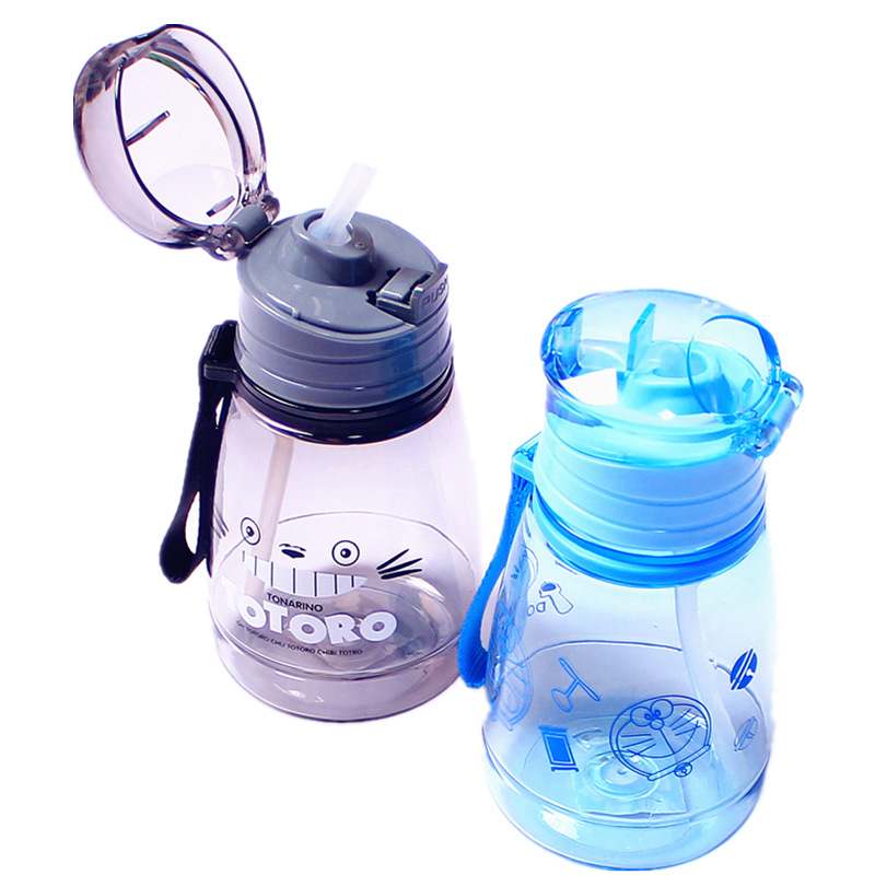 Children's Water Cup Leak-proof Straw Bottle Summer Student Kettle Cute Portable Plastic Sport Bottles For Kids
