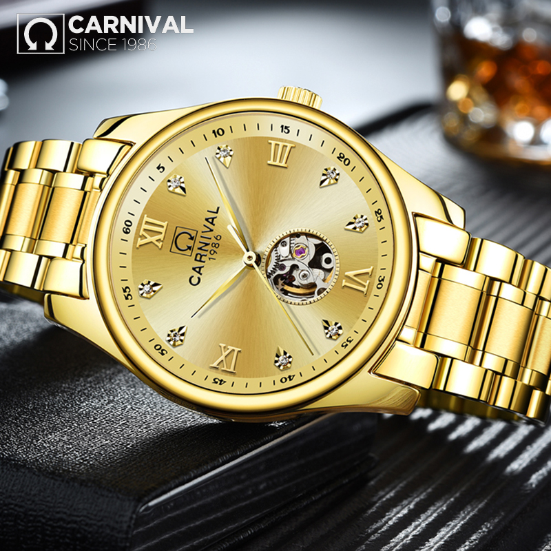 CARNIVAL Men's Gold-tone Skeleton Wrist watch 30m Waterproof Stainless steel Crystal Mechanical Watches TopBrand Luxury relegio