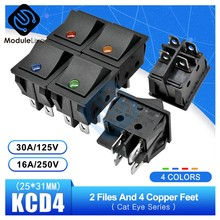 KCD4 Rocker Switch Power 25*31 Mm Touch On/Off Kapal Tipe Switch Mata Kucing 2 File Posisi 4 Pin dengan Cahaya 16A 250 V 30A 125 V Cap(China)