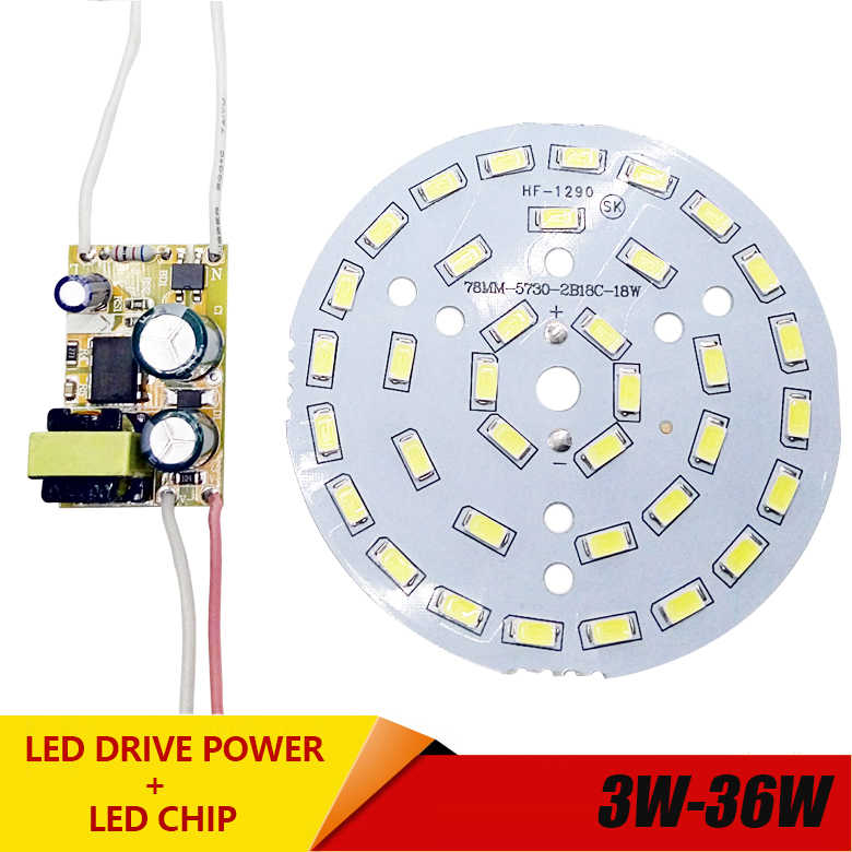 3W 7W 12W 18W 24W 36W 5730 SMD Papan Lampu LED Panel langit-langit AC 100-265V LED Power Supply Driver