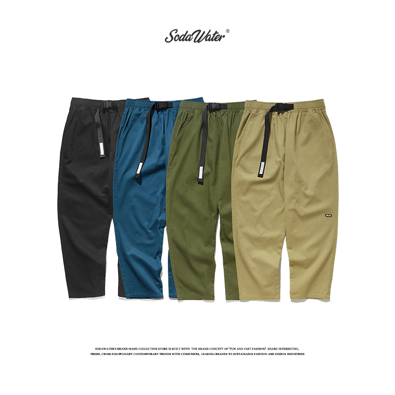 SODAWATER Men Solid Color Cargo Pants 2019 Autumn Harajuku Casual Tactical Pants Japan Style Loose Belt Trousers For Men 93365W