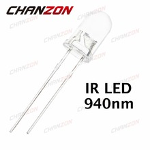 100 шт. 5 мм Инфракрасный ИК светодиодный 940nm светильник светодиод лампа 20mA 1,45-1,65 в 5 мм прозрачный объектив 940 нм DIP излучатель