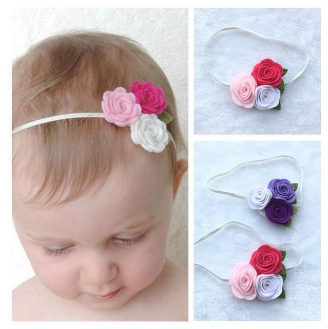 Trio flowers headband felt flower headband hair band kids girls headwear newborn photo props newborn headband
