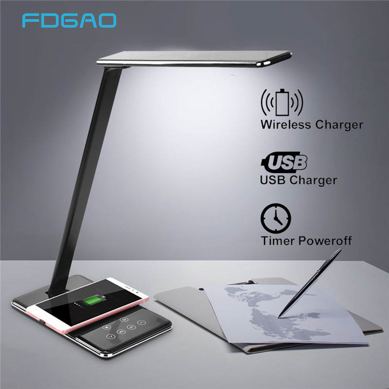Lamp Qi Wireless Charger For IPhone XS Max X 8 Samsung S10 S9 Xiaomi Foldable Table Desktop Desk LED Light USB Fast Charging Pad