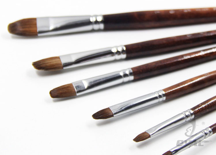 6pcs/Set Weasel Hair Horse Hair Mixed Animal Hair Birch Rod Quaint Style Gouache Paintbrush Oil Paint Brush Artists Art Brush