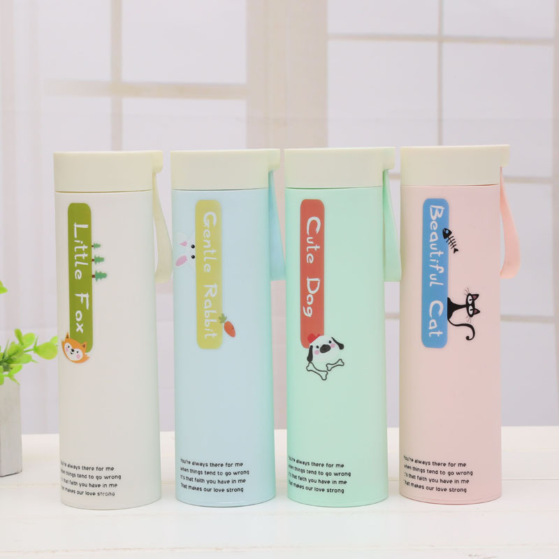 New plastic shell glass creative sets of plastic students gift water bottle outdoor travel glass leak-proof Office