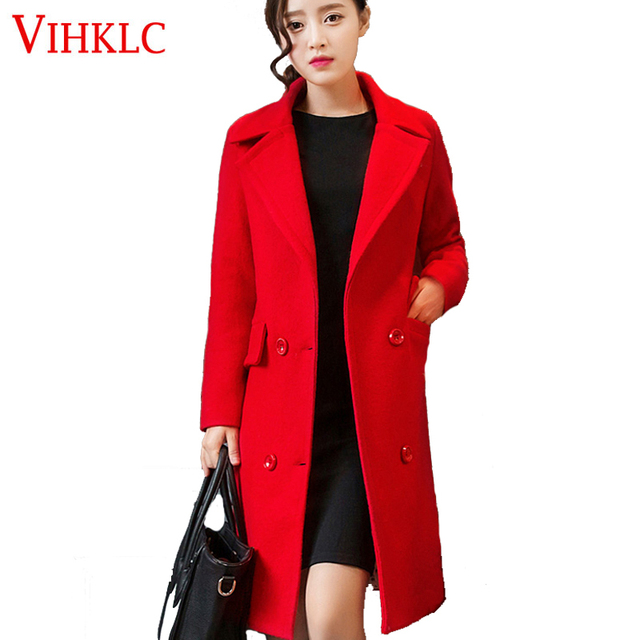 d2c567e90 US $49.0 50% OFF|Brand Design Winter Coat Women Warm Cotton padded Wool  Coat Long Women's Cashmere Coat European Fashion Jacket Outwear G382-in  Wool & ...