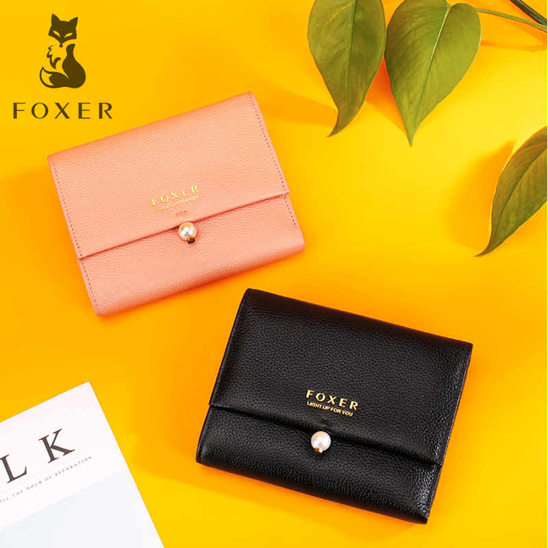 FOXER Brand Women Genuine Cow Leather Wallet Short Fashion Coin Wallet & Purse & Card Holder