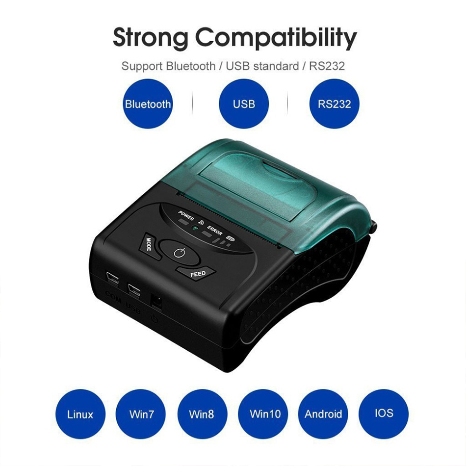 GZM5805 Portable Mini Thermal Bluetooth Printer 58mm for Android iOS Cash Register POS Receipt Printers Ticket Thermal Printer bluetooth thermal printer 58mm usb pos small ticket barcode receipt printer pocket bill thermal printers for ios android windows