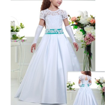 New Flower Girl Dresses for Wedding Short Sleeve Little Girls Kids/Child Dress Satin Lace Ball Party Pageant Communion Dress