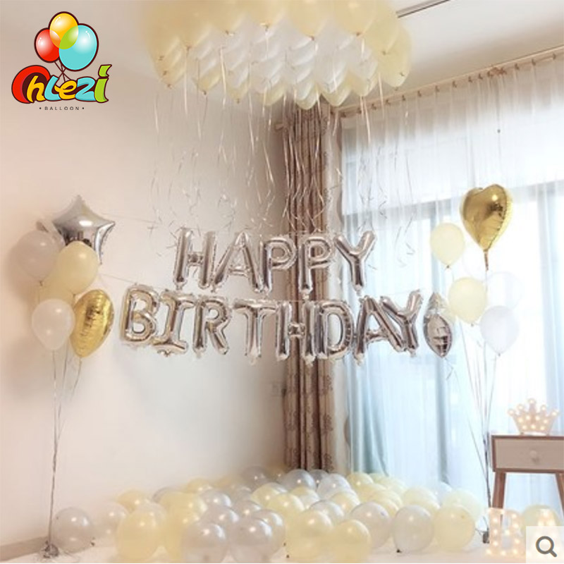 New 1 Set Silver blue theme happy birthday suit balloon Adult baby birthday party decoration balloons Pearlescent latex balloon