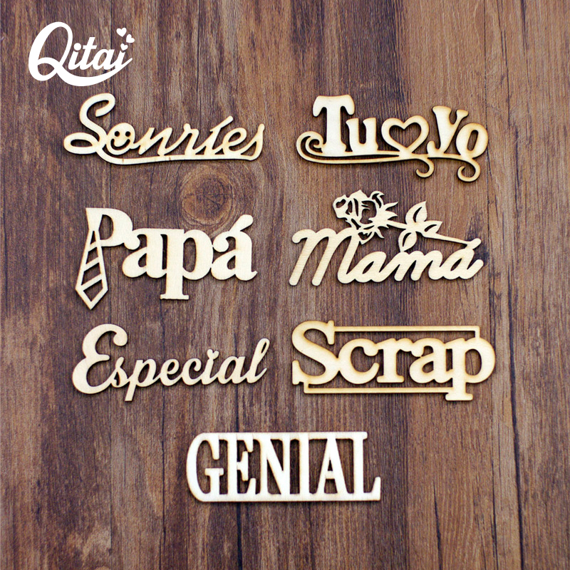QITAI 21Pcs/Lots 7 Model Wood Spanish Words Letters Handicraft Home Decorations DIY Creativity Wooden Words Decorate Wall WF268