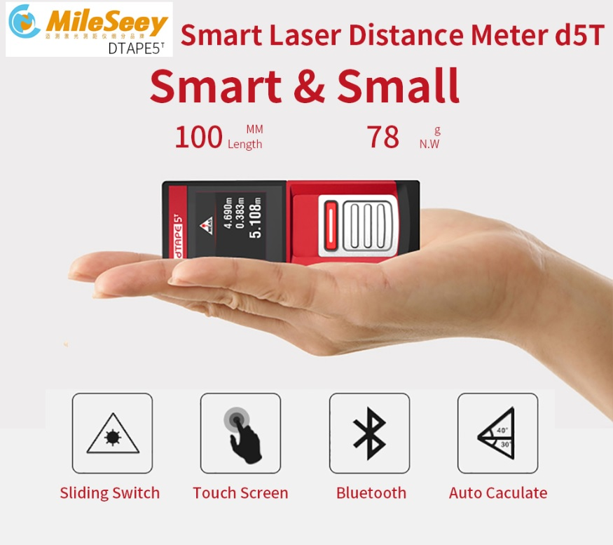 Mileseey D5T Digital  laser distance meter rangefinder scope distance meter 20m 40m 60m range finder measure mini Bluetooth mileseey d5t digital golf laser rangefinder scope distance laser distance meter 20m 40m 60m range finder measure mini bluetooth
