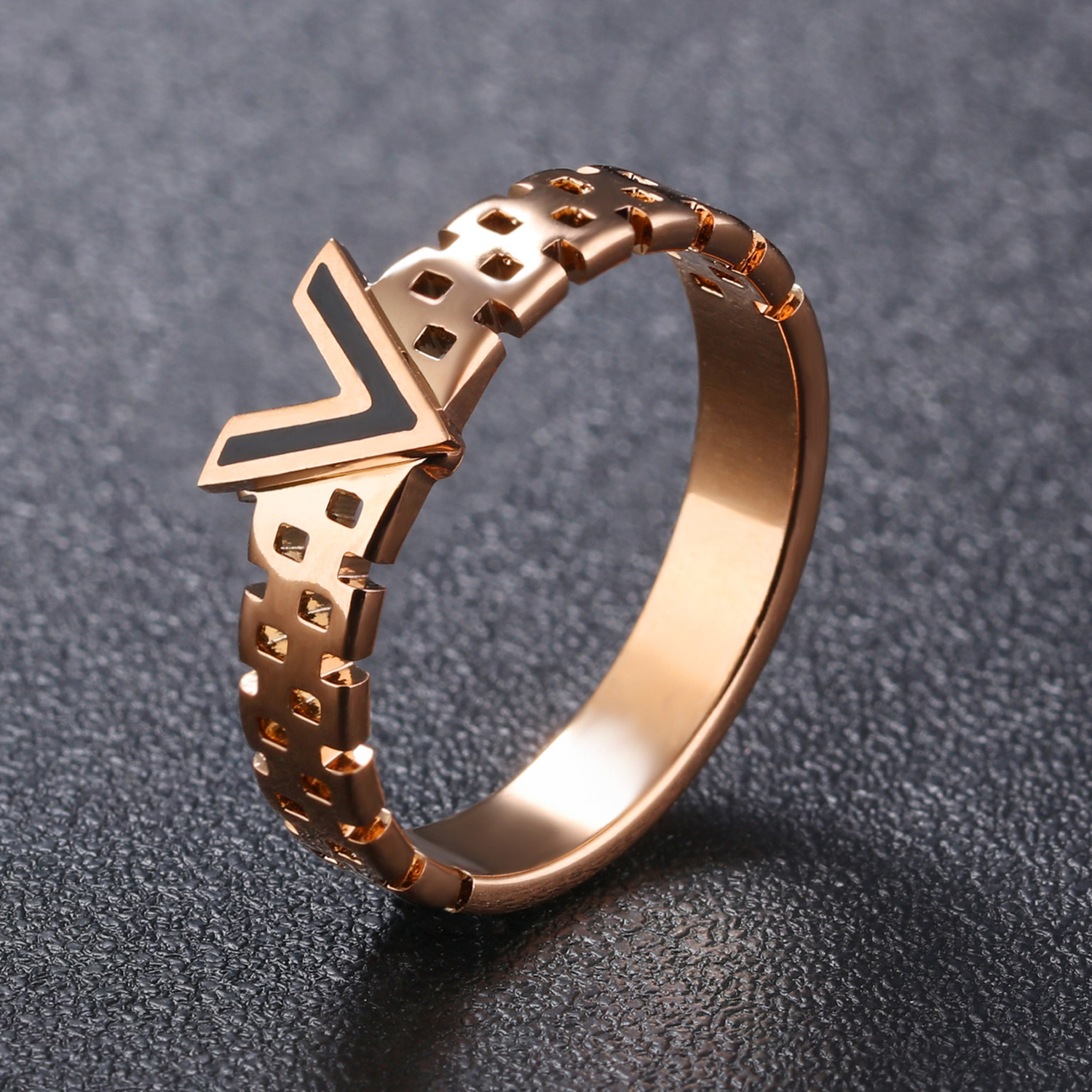 online shop rose gold trendy letter v ringv shaped wedding ringsfemale engagement wedding love finger ring aliexpress mobile - Rose Shaped Wedding Ring