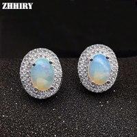 Mulheres Cor Natural Pedra Preciosa Opala Brincos Genuine 925 prata esterlina Jóias Finas ZHHIRY