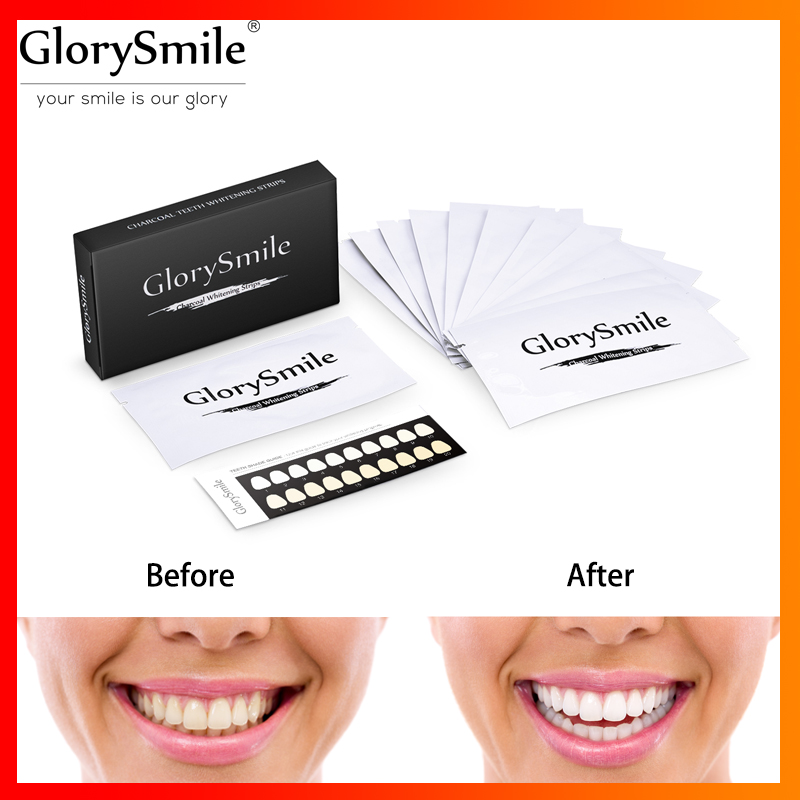 Dental Teeth Whitening Strips 28 strips/14 pair Activated Charcoal Oral Hygiene White Teeth Strips Professional Effects 14 days