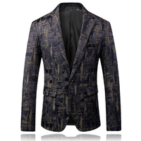 2018 New Men's Fashion Boutique Printing Wedding Blazer Male High end Brand Business Casual Single buckle Suit Jacket Coats