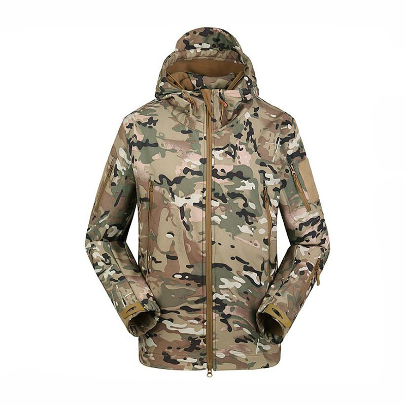 ACU / Camouflage Outdoor Men Jacket Waterproof TAD Coat Sports Shark Skin Soft Shell Hoodie