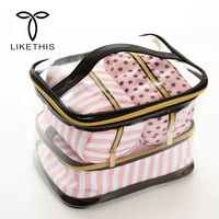 4Pcs Cosmetic Storage Bags Clear PVC Waterproof Portable Wash Makeup Organizer Case Travel Toiletry Pouch Accessories H1701
